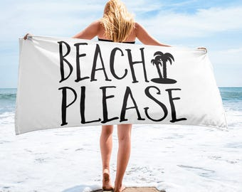 Beach Please Beach Towel, Beach Towel, Beach please, Palm Trees, towel, beach please, beach, summer, palm tree