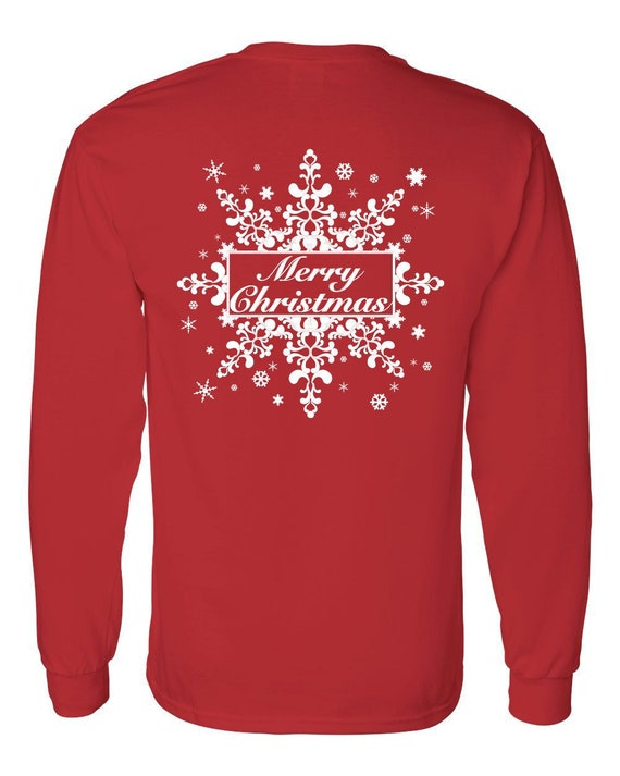Christmas Jersey Design.Christmas T Shirt Long Sleeve Snowflake Design Merry Christmas Long Sleeve T Shirt Unisex Adult Fit Southern Element Apparel
