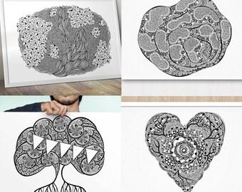 2 x wall art prints – Black Ink (A3 size, nursery, wedding, hand drawn, baby shower, wedding gift)