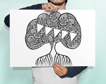 Tree wall art – black ink (A3 size, nursery, wedding, hand drawn, baby shower, wedding gift)