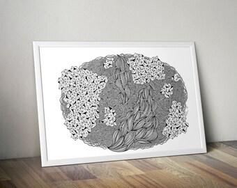Crystalize wall art – black ink (A3 size, nursery, wedding, hand drawn, baby shower, wedding gift)