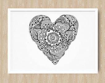 Heart wall art – black ink (A3 size, nursery, wedding, hand drawn, baby shower, wedding gift)
