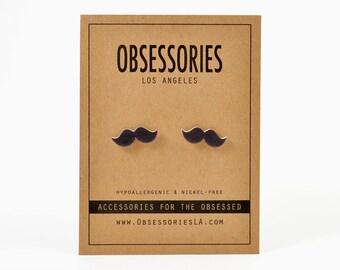Black Mustache Earrings Stud Earrings Post Mustache Jewelry Mustache Accessories Mustache Gift Idea Movember Beard Quirky Kitschy Kitsch