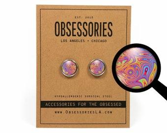 Psychedelic Earrings Trippy Earrings Hippie Stud Earrings Psychedelic Jewelry Trippy Jewelry Rainbow Tie Dye Tiedye Swirl 60s 70s Hippy Gift