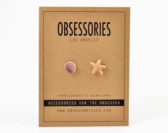 Starfish Earrings Sea Shell Earrings Seashell Earrings Stud Earrings Post Starfish Jewelry Shell Jewelry Seashell Jewelry Accessories Gift