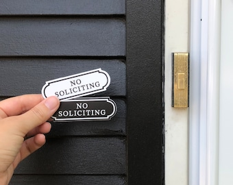 Black & White No Soliciting Sign Sticker Small No Soliciting Sticker No Soliciting Decal Waterproof Outdoor Vinyl Sticker For Ring Doorbell