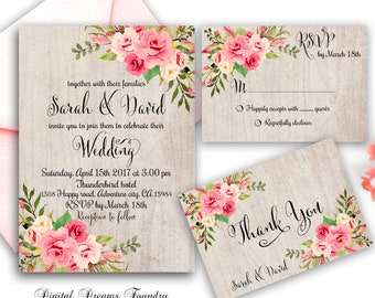 Rustic Floral Wedding Invitation Printable Roses Wedding Invitation Boho Wedding Suite Blush Pink Roses Wedding Invitations Romantic Wedding