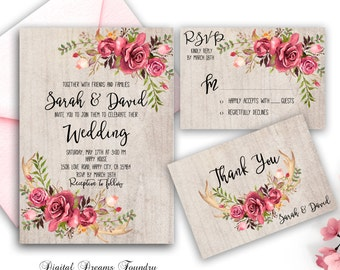 Rustic Wedding Invitation Printable Floral Wedding Invitation Suite Antler Wedding Boho Wedding Invitation Rose Wedding Invitation