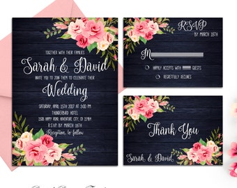 Navy Blue Wedding Invitation Printable Roses Wedding Invitation Boho Wedding Invitation Suite Blush Pink Floral Wedding Invitation