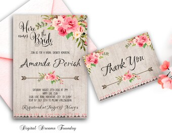 Floral Bridal Shower Invitation Printable, Boho Bridal Shower Invite, Bohemian Bridal Shower, Roses Bridal Invite, Spring Bridal Invitation