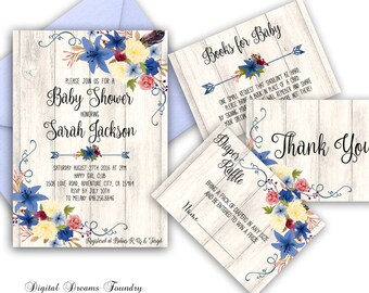 Floral Baby Shower Invitation, Printable Boho Baby Shower Invite, Bohemian Baby Invitation Blue Floral Baby Shower Invitation Digital Invite