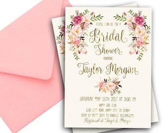 Floral Bridal Shower Invitation Spring Bridal Shower Invites Printable Boho Bridal Invitation Bride to be Invitation Floral Spring Invite