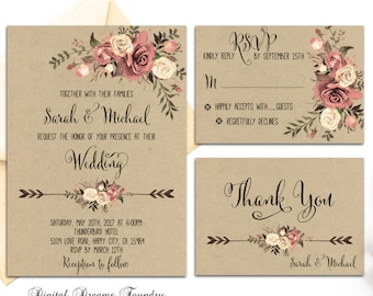 Rustic Floral Wedding Invitation Printable Bohemian Wedding Suite Blush Roses Wedding Invitation Country Wedding Invitation Fall Wedding Set
