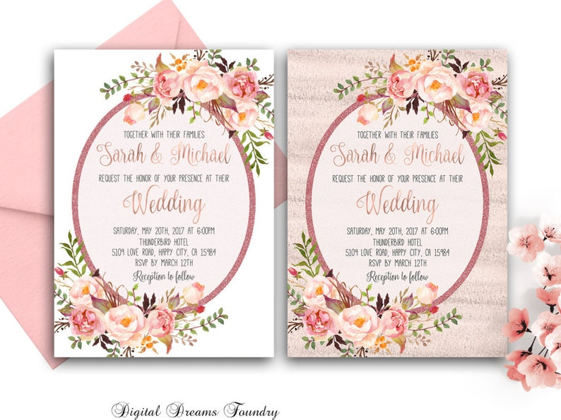 picture regarding Etsy Wedding Invitations Printable titled Spring Floral Marriage ceremony Invitation Printable Rustic Wedding day Invitation Rose Gold Marriage Invitation Intimate Marriage Boho Wedding ceremony Invitation