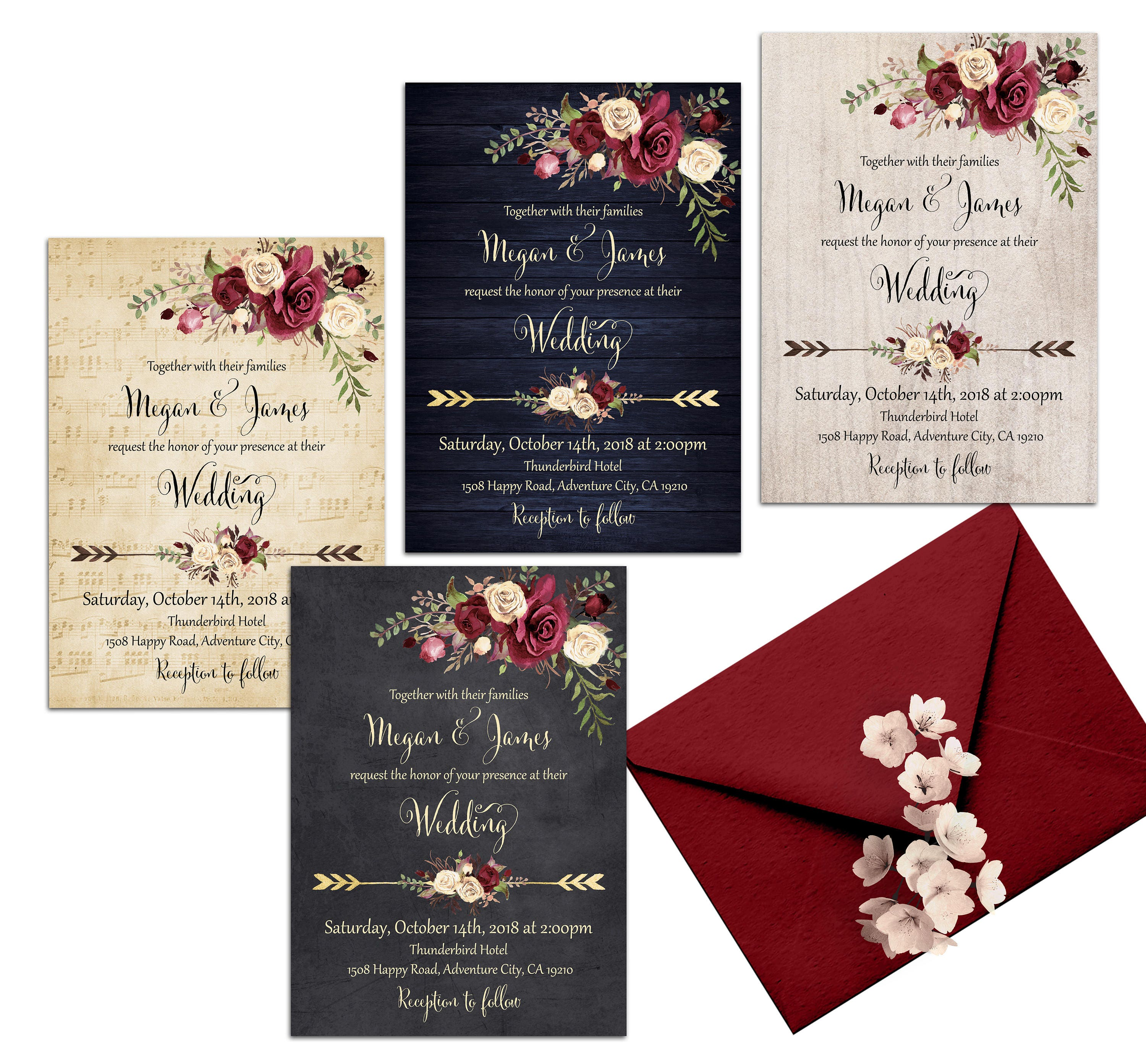 Burgundy Wedding Invitation Printable Floral Wedding | Etsy