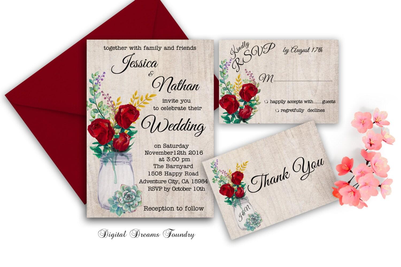 Mason Jar Wedding Invitation Printable Rustic Fall Wedding | Etsy