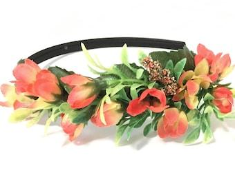 Flower headband, flower crown, boho flower crown, beach wedding, orange flower crown, headband, hair accessories, women headband, yellow