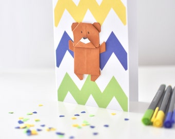 Birthday card - Little brown bear in origami greeting card