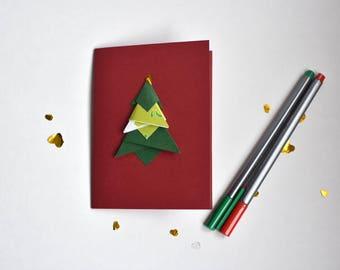 Christmas card, Christmas tree card, Origami Christmas tree card, Fir, evergreen, winter card origami, Fir tree card, Winter card, Christmas