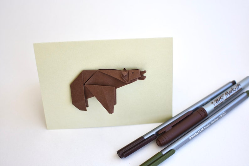 Greeting card  Grizzly bear in origami light olive green image 0