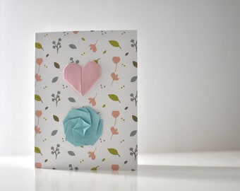 Origami greeting card with blue flower and pink heart, Origami card, Original floral illustration for background.