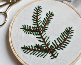 Christmas decorative embroidery with fir tree branch - One of a kind, ready to go