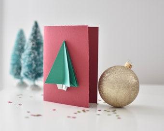 Christmas card Origami Christmas tree. Fir tree origami greeting card.