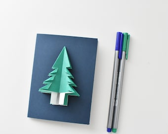 Origami Fir tree card, Christmas tree, Origami fir tree card, outdoor lover card, Fir, evergreen, winter card origami, Canadian forest,