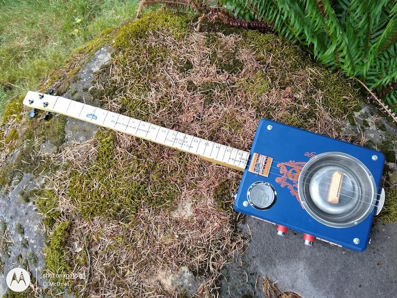 Dog Dish Resonator Cigar Box Guitar Volume/Tone Zero Fret. image 0