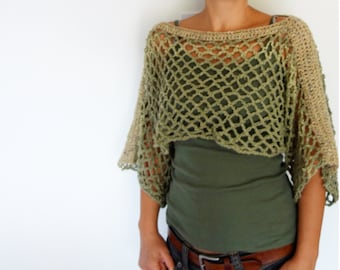 Crochet Pattern - Lattice Crop Top/ Rustic Shouders Coverup/See-through Boho Shrug/Short Sweater