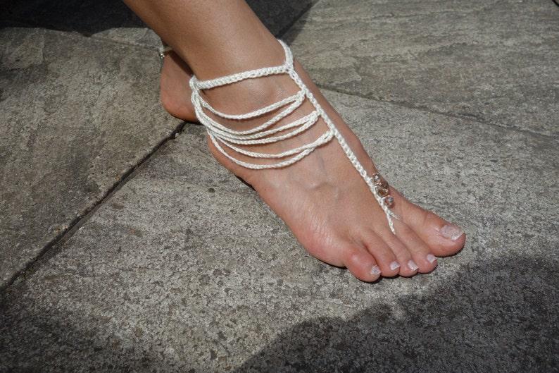 Crochet Pattern Boho Barefoot Sandals Crochet Beads Beach Etsy