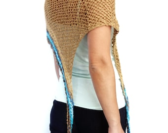 Crochet Pattern - Torquay Poncho/ Asymmetrical Ombre Wrap/ Beach Wedding Coverup