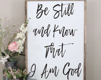 Be Still And Know That I Am God Framed Wood Sign, Psalm 46:10 Living Room Wall Art Inspirational Bible Verse Distressed Sign