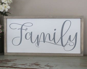 Family Wood Sign, Distressed Wood Sign, Framed Wood Sign, Housewarming Gift, Gift for Her, Living Room Wood Sign, Friends and Family Sign