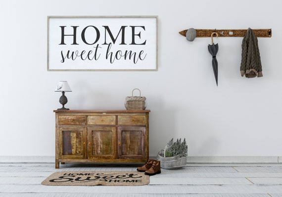 Home Sweet Home Wood Sign Inspirational Wall Art Farmhouse | Etsy