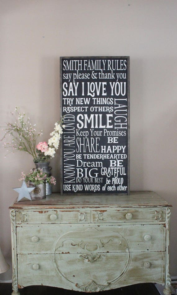 Family Rules Sign Personalized Living Room Wall Art I Love | Etsy