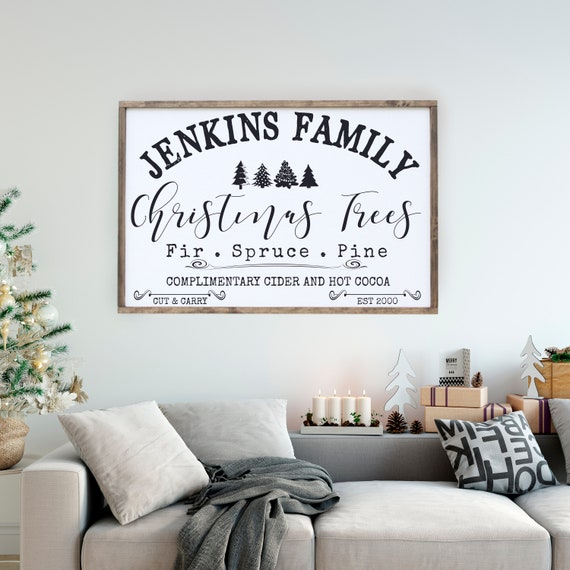 Christmas Tree Framed Sign Personalized, Farm Fresh Sign, Holiday Wall Art, Farmhouse Style Wall Decor, Hot Cocoa Sign, Large Sign Saying
