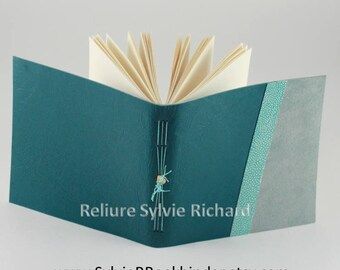Turquoise leather notebook - personal diary - travel book - soft bookbindings for sketches, drawings, poems, stories, calligraphy ...