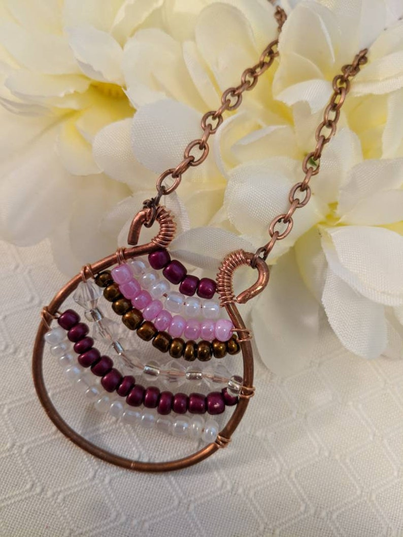 Shaped beaded Pendant Colorful beads Boho Necklace Multicolor Necklace Wire Wrapped Necklace Made With Copper Chain