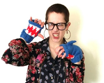 Shark mittens. Hand knitted blue shark mittens/fingerless gloves with mouth detail.