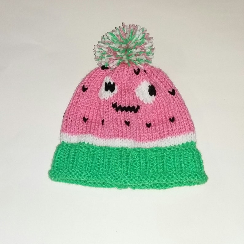 Watermelon hat Hand knitted pink white and green watermelon bobble hat