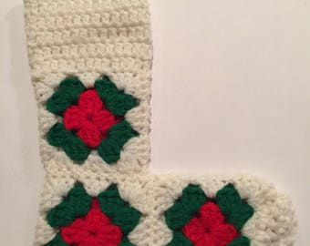 """Vintage 9"""" handmade and hand knitted Christmas stocking white yarn with flowers or poinsettias"""