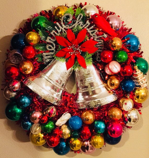 image 0 - 20 Vintage Christmas Ornaments Tinsel Wreath With Shiny Etsy