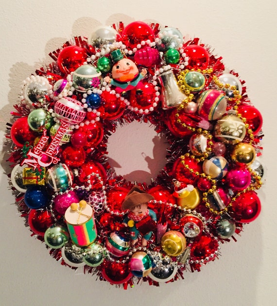 image 0 - 20 Tinsel Wreath Covered In Vintage Christmas Ornaments Etsy