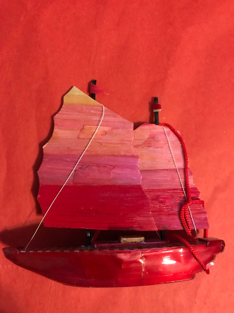 Vintage handmade wooden pressed bambo Asian Junk ship Christmas ornament Chinese boat