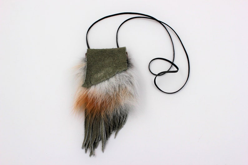 7336d157d0 Red Fox Fur Medicine Bag with Slate Gray Green Buffalo Bison