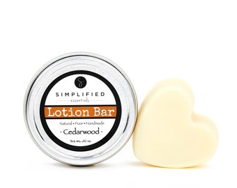 Cedarwood Lotion Bar / Body Lotion Bar / Lotion Bar / Organic Moisturizer / Shea Butter Bar / Valentine Gift for Him / Skincare for Him