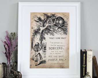 Alice In Wonderland Wall Art Print - Gifts For Friends - Bonkers - Unique Gift For Wife - Gifts For Her - Birthday Gifts - Literary Gifts