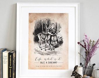 Alicja W Krainie Czarów ściana Art Print Cytaty Etsy