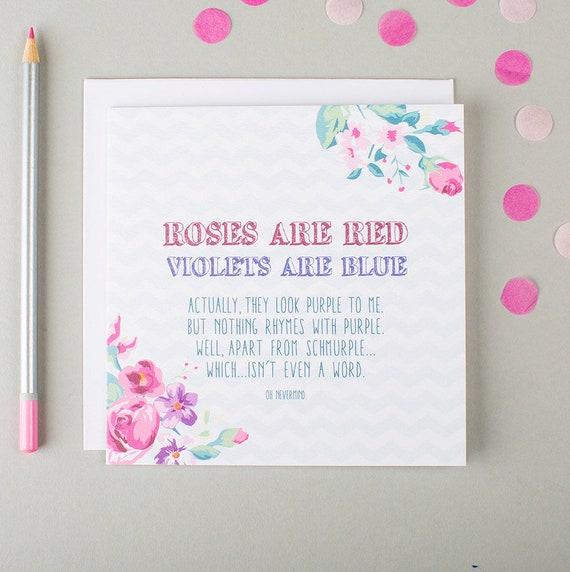 Grappige Verjaardag Card Lastige Verjaardag Card Rozen Zijn Rood Verjaardag Gedicht Card Grappige Liefde Kaart Kaart Voor Vriendin